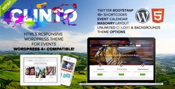 Clinto – HTML5 Responsive WordPress Theme for Events - Gpl Pulse