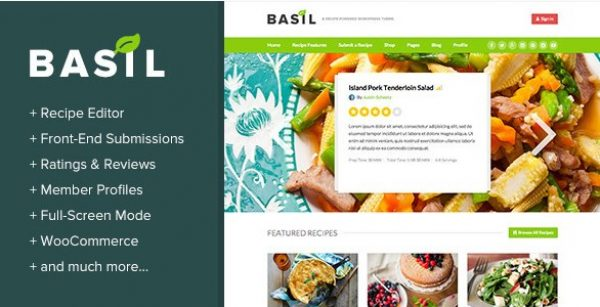 Basil Recipes – A Recipe-Powered WordPress Theme - Gpl Pulse