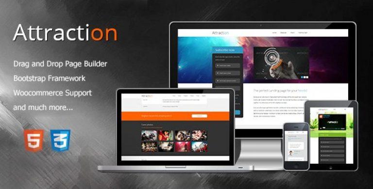 Attraction – Responsive WordPress Landing Page Theme - GPl Pulse