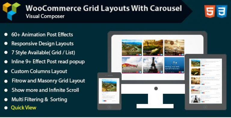 Visual Composer – Woocommerce Grid with Carousel - Gpl Pulse