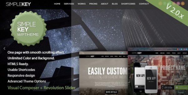SimpleKey – One Page Portfolio WordPress Theme - Gpl Pulse