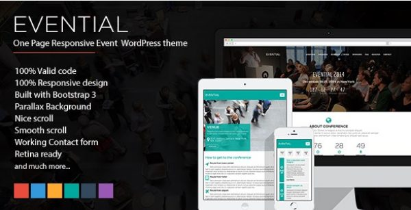Evential – One Page Responsive Event WordPress Theme - Gpl Pulse