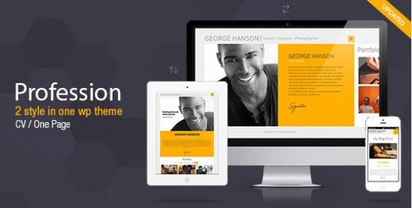 Profession – One Page CV Resume Theme - Gpl Pulse