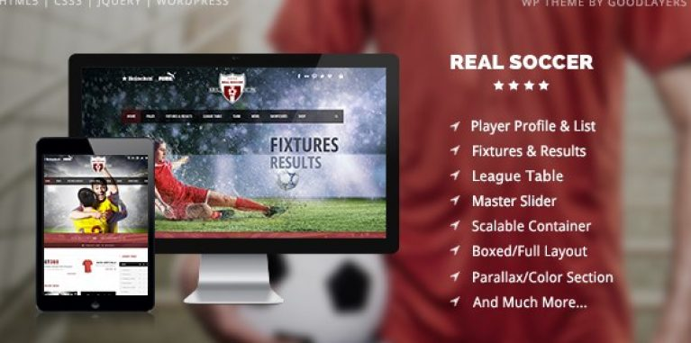Real Soccer – Sport Clubs Responsive WP Theme - Gpl Pulse