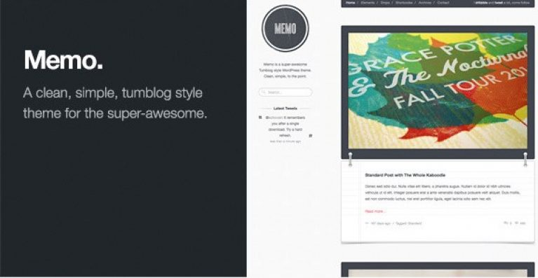 Memo – Tumblog Style WordPress Theme - Gpl Pulse