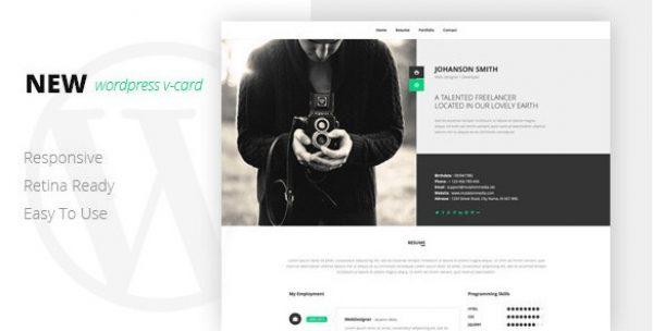 NEW Retina Ready WordPress Vcard Theme - Gpl Pulse