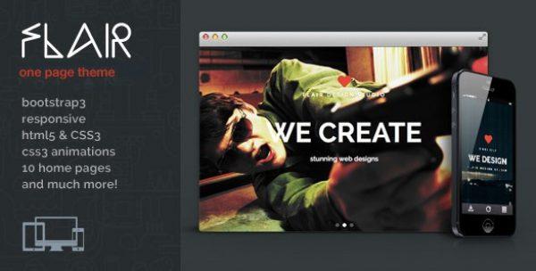 Flair – One Page Responsive WordPress Theme - Gpl Pulse